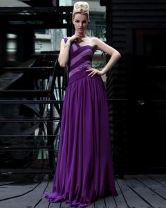 Silk One Shoulder Drape Rhinestone Floor Length Evening Dresses