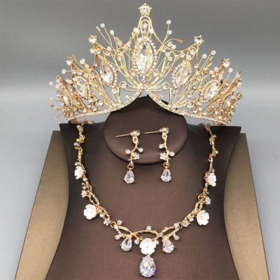 Chic / Beautiful Gold Tiara Necklace Earrings Bridal Jewelry 2019 Metal Beading Rhinestone Wedding Accessories