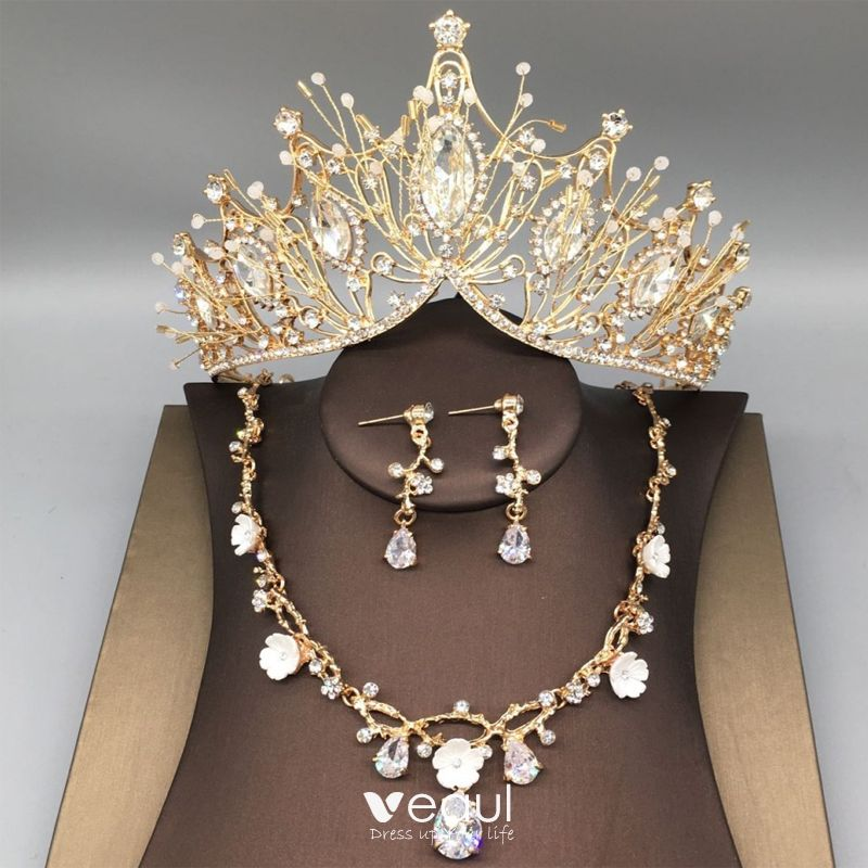 Chic Beautiful Gold Tiara Necklace Earrings Bridal Jewelry 2019