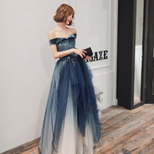 Chic / Beautiful Navy Blue Gradient-Color Evening Dresses  2020 A-Line / Princess Off-The-Shoulder Short Sleeve Rhinestone Glitter Tulle Floor-Length / Long Ruffle Backless Formal Dresses