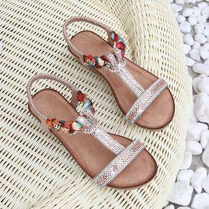 Bohemia Champagne Beach Rhinestone Womens Sandals 2020 T-Strap 4 cm Wedges Low Heel Open / Peep Toe Sandals