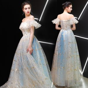 Best Champagne Prom Dresses 2019 A-Line / Princess Off-The-Shoulder Sleeveless Glitter Tulle Floor-Length / Long Ruffle Backless Formal Dresses