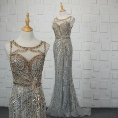 Luxury / Gorgeous Silver Handmade  Beading Evening Dresses  2019 Trumpet / Mermaid Crystal Sequins Rhinestone Tassel Scoop Neck Sleeveless Sweep Train Formal Dresses