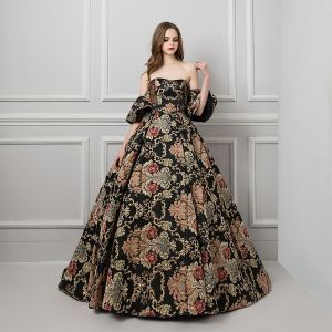 Colored Black Prom Dresses 2019 Ball Gown Strapless Short Sleeve Printing Flower Court Train Ruffle Backless Formal Dresses