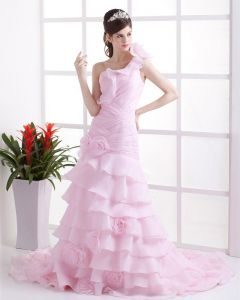 Organza Ruffles Flowers One Shoulder Cathedral Train Mermaid Wedding Dresses