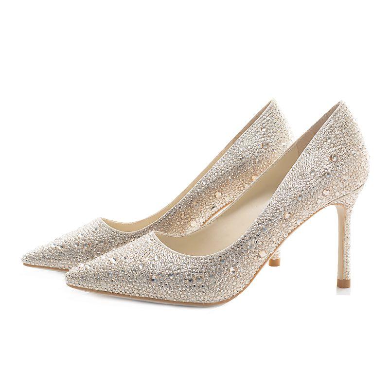 Sparkly Gold Wedding Shoes 2019 Leather Rhinestone 8 cm Stiletto Heels Pointed Toe Wedding Pumps
