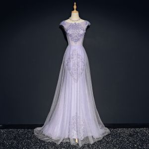 Elegant Lavender Evening Dresses  2018 A-Line / Princess Scoop Neck Cap Sleeves Appliques Lace Crystal Sweep Train Ruffle Backless Formal Dresses