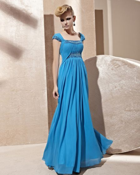 Square Collar Beading Ruffle Wrap Shoulder Sleeveless Zipper Floor Length Charmeuse Woman Evening Dress