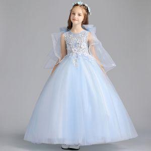 Chic / Belle Bleu Ciel Robe Ceremonie Fille 2019 Princesse Encolure Dégagée Sans Manches Appliques Fleur Perlage Longue Volants Robe Pour Mariage