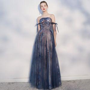 Elegante Donkerblauwe Avondjurken 2018 A lijn Strik Ruglooze Strapless Mouwloos Lange Gelegenheid Jurken