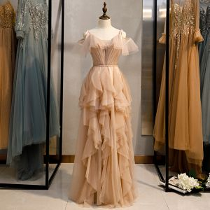 Fashion Champagne Evening Dresses  2020 A-Line / Princess Spaghetti Straps Sleeveless Backless Cascading Ruffles Floor-Length / Long Formal Dresses