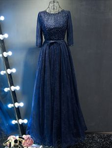 Glitter Prom Dresses 2017 Beading Scoop Neckline Navy Blue Lace Dress With Bow Sash