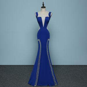 Chic / Beautiful Royal Blue Evening Dresses  2019 Trumpet / Mermaid Square Neckline Sleeveless See-through Backless Floor-Length / Long Formal Dresses