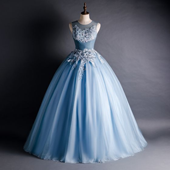 Chic / Beautiful Ocean Blue Prom Dresses 2020 Ball Gown See-through Scoop Neck Sleeveless Appliques Lace Beading Court Train Ruffle Backless Formal Dresses