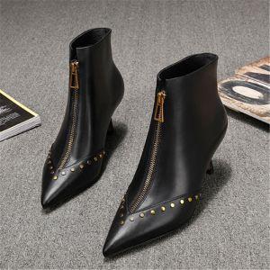 Moda Negro Ropa de calle Cuero Botas de mujer 2020 Remache 6 cm Stilettos / Tacones De Aguja Punta Estrecha Botas