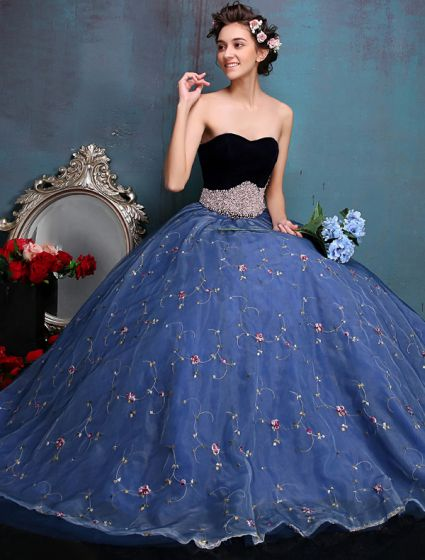 Elegant Prom Dresses 2016 Sweetheart Beaded Pearl Sash Embroidered Blue Organza Formal Dress