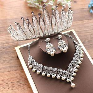 Luxe Argenté Tiare Un Collier Boucles D'Oreilles Accessorize 2019 Métal Faux Diamant Perlage Cristal Perle Bijoux Mariage