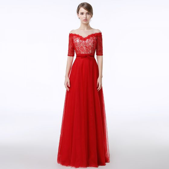 Chic / Beautiful Red Evening Dresses  2017 A-Line / Princess Lace Bow Sequins Scoop Neck Backless Zipper Up 1/2 Sleeves Floor-Length / Long Evening Party
