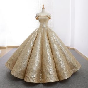 Sparkly Gold Dancing Prom Dresses 2020 Ball Gown Off-The-Shoulder Short Sleeve Floor-Length / Long Ruffle Backless Formal Dresses
