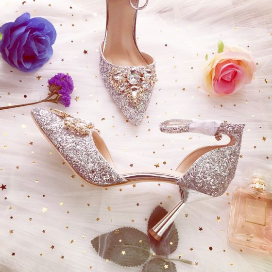 Sparkly Silver Bridesmaid Wedding High Heels 2019 Rhinestone Sequins Ankle Strap 8 cm Stiletto Heels Pointed Toe Wedding Shoes