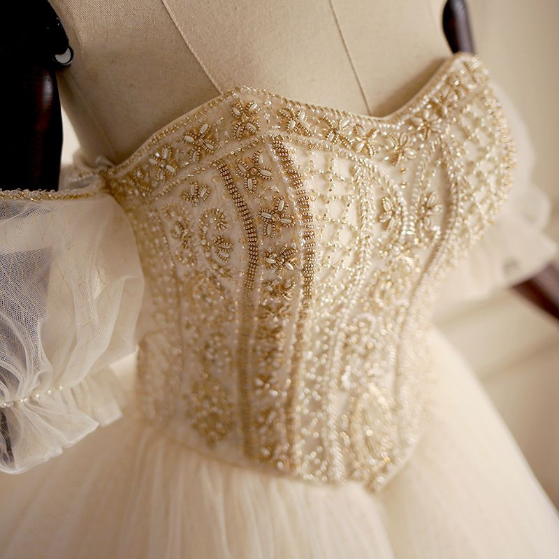 Luxury / Gorgeous Gold Wedding Dresses 2018 A-Line / Princess Off-The-Shoulder Sweetheart Short Sleeve Backless Pearl Beading Floor-Length / Long Ruffle