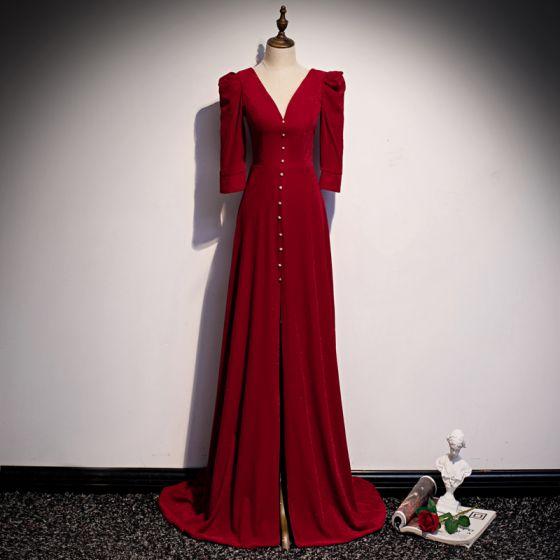 Vintage Rode Velour Winter Avondjurken 2020 A lijn Diepe v-hals 3/4 Mouwen Sweep Trein Ruche Ruglooze Gelegenheid Jurken