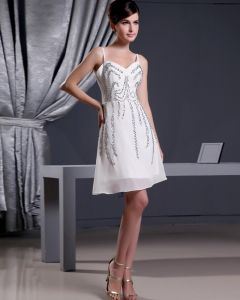 Chiffon Silk Beading Thigh Length Spaghetti Straps Mini Wedding Dress