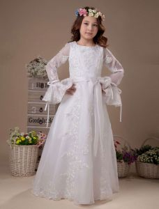 White Embroidery Long Sleeves Satin Flower Girl Dress