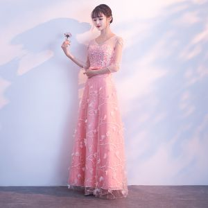 Hermoso Rosa Largos Vestidos de noche 2018 A-Line / Princess V-Cuello Tul Apliques Sin Espalda Rebordear Lentejuelas Noche Vestidos Formales