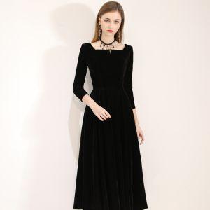 Modest / Simple Black Evening Dresses  2019 A-Line / Princess Square Neckline Suede Backless Bow 3/4 Sleeve Tea-length Formal Dresses