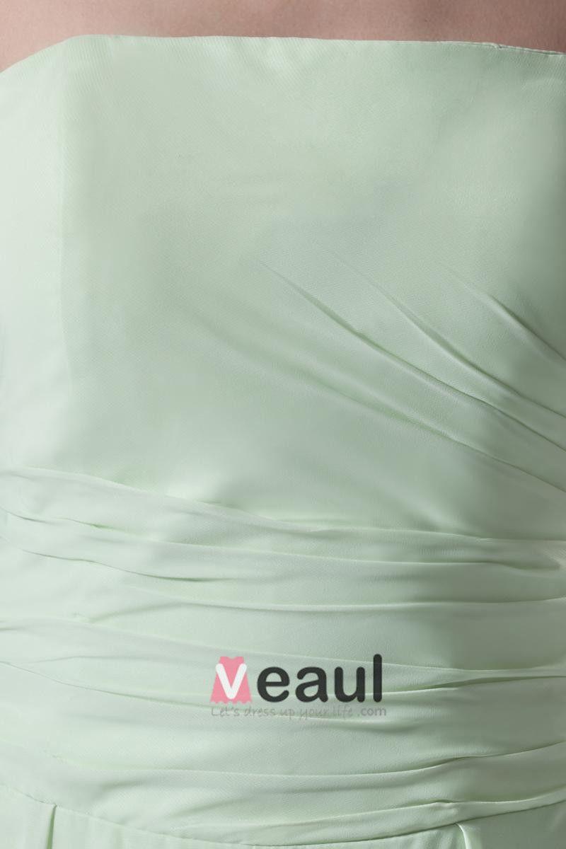 Longueur Robe De Soirée En Mousseline De Soie Plissee Sans Bretelles