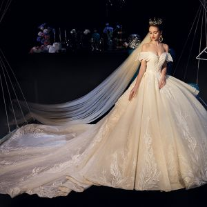 Luxury / Gorgeous Champagne Wedding Dresses 2019 A-Line / Princess Off-The-Shoulder Short Sleeve Backless Appliques Lace Beading Pearl Crystal Glitter Tulle Cathedral Train Ruffle