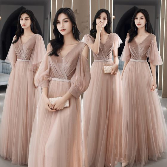 Modest / Simple Blushing Pink Suede Bridesmaid Dresses 2021 A-Line / Princess V-Neck Short Sleeve Backless Floor-Length / Long Wedding Party Dresses