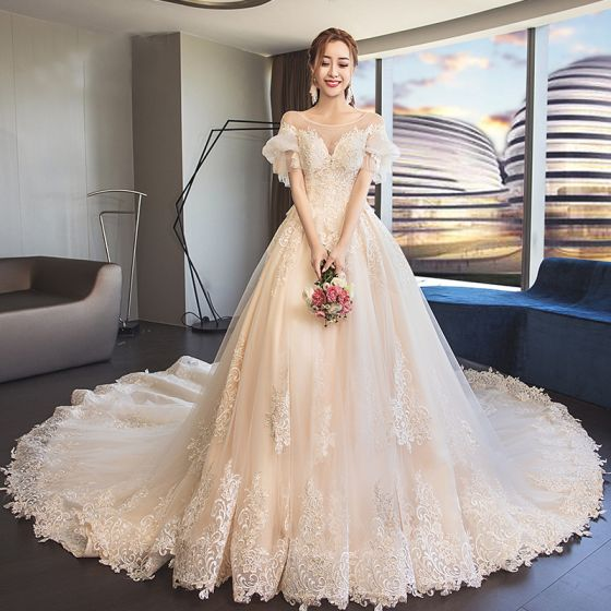 Classy Champagne See-through Wedding Dresses 2019 A-Line / Princess Scoop Neck Puffy Short Sleeve Backless Appliques Lace Cathedral Train Ruffle