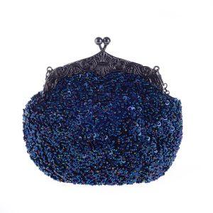 Bling Bling Königliches Blau Pailletten Perlenstickerei Metall Clutch Tasche 2018
