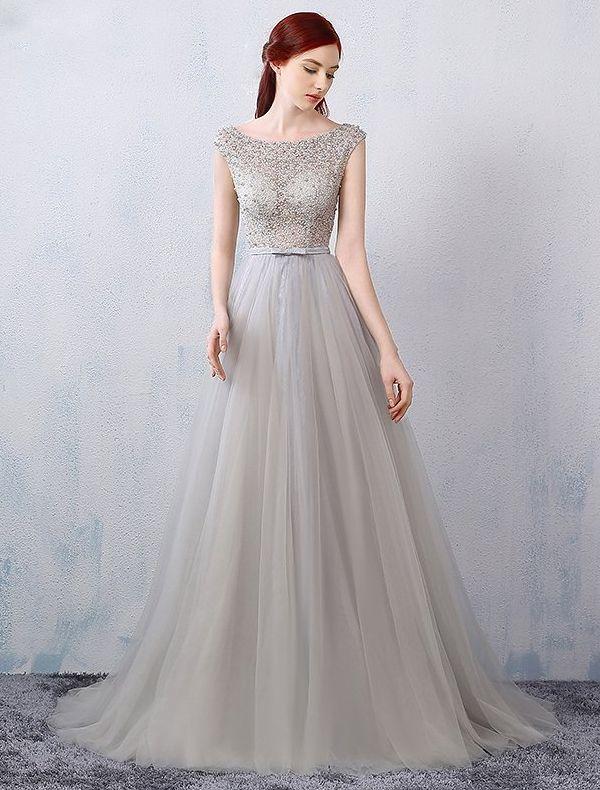 Glamourösen Abendkleider 2016 A-line Sicken Durchbohrt Design Grau Spitze Tüll Rückenfreies Kleid