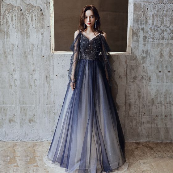 Charming Navy Blue Prom Dresses 2020 A-Line / Princess Spaghetti Straps Glitter Tulle Beading Crystal Long Sleeve Backless Floor-Length / Long Formal Dresses