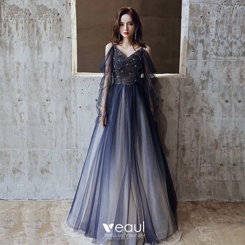 Charming Navy Blue Prom Dresses 2020 A