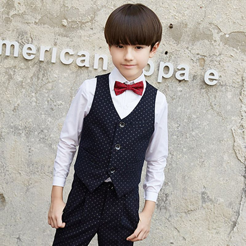 Modest / Simple Black Long Sleeve Printing Boys Wedding Suits 2017