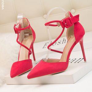 Piękne Fuksja Koktajlowe Zamszowe Sandały Damskie 2020 Z Paskiem 10 cm Szpilki Szpiczaste Sandały
