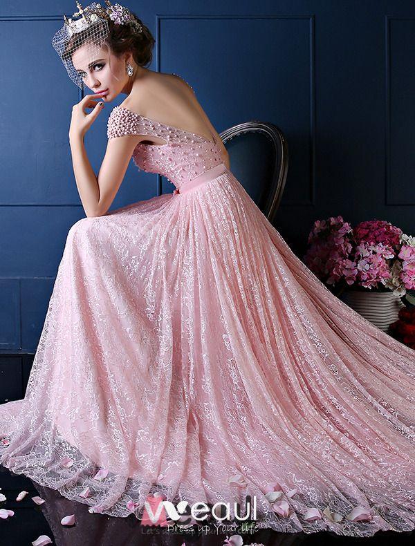 Luxus A Line Quadratischen Ausschnitt Sicke Perle Seide Spitze Rosa Abendkleid