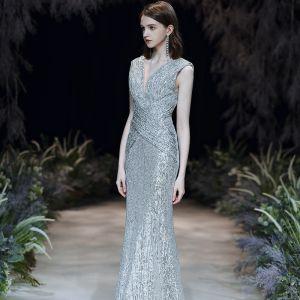 Sparkly Silver Sequins Evening Dresses  2020 Trumpet / Mermaid Deep V-Neck Sleeveless Backless Floor-Length / Long Formal Dresses