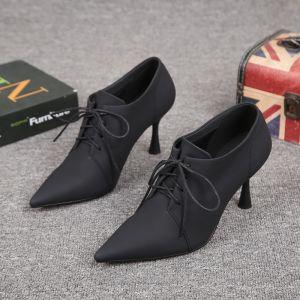 Enkel Svart Casual Lær Kvinners støvler 2021 7 cm Stiletthæler Spisse Boots