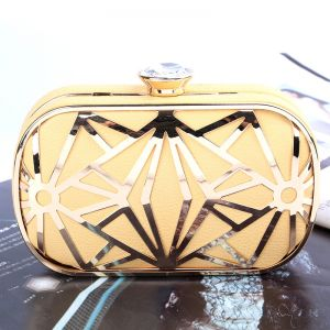 Chic / Beautiful 2017 White Gold Black Leaf PU Outdoor / Garden Clutch Bags