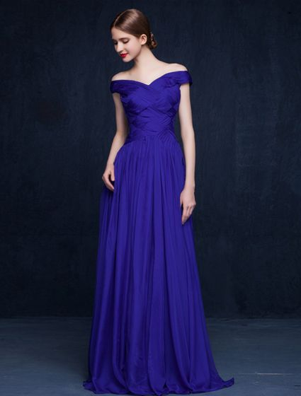 2016 Sexy Off The Shoulder Backless Ruffles Royal Blue Evening Dress