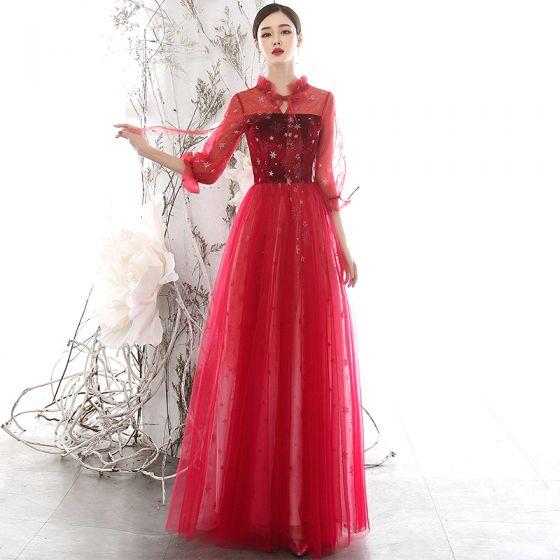 Hermoso Rojo Transparentes Vestidos de noche 2020 A-Line / Princess Cuello Alto Hinchado 3/4 Ærmer Glitter Estrella Largos Ruffle Sin Espalda Vestidos Formales