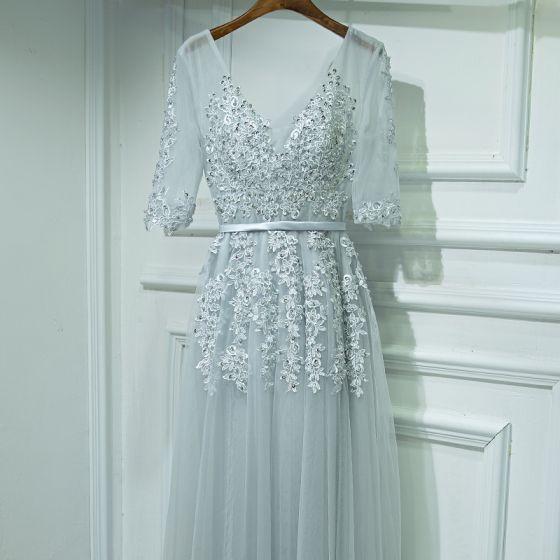 Sencillos Plata Vestidos para bodas 2017 A-Line / Princess De Encaje Flor Rebordear Lentejuelas V-Cuello 1/2 Ærmer Largos Vestidos De Damas De Honor