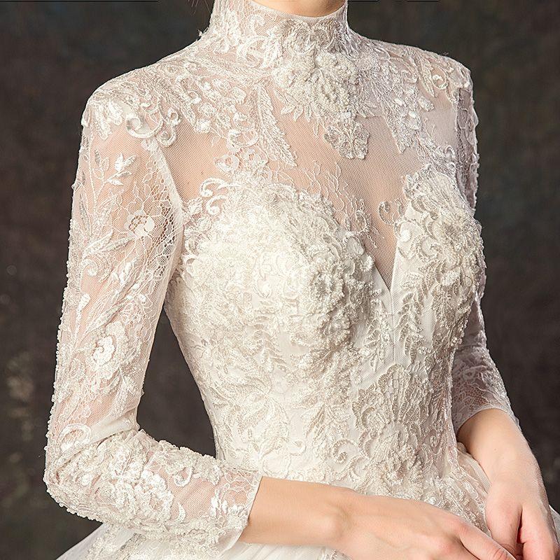 Elegant Ivory Wedding Dresses 2019 Ball Gown High Neck Lace Flower 3/4 Sleeve Backless Royal Train