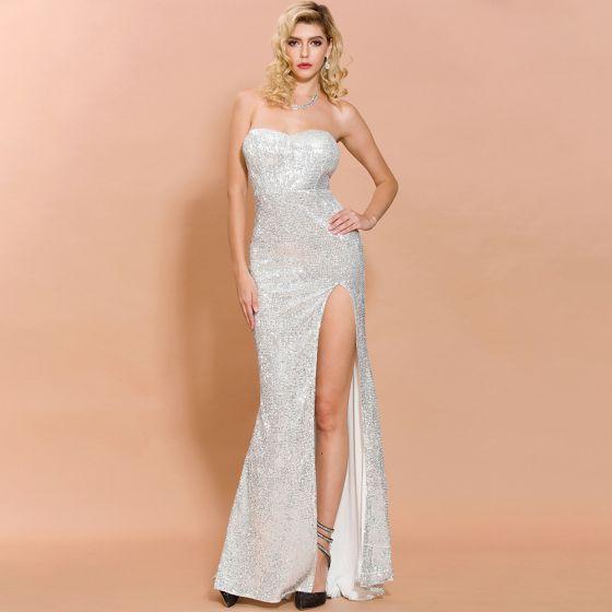 Glitzernden Silber Pailletten Abendkleider 2020 Meerjungfrau Herz-Ausschnitt Ärmellos Gespaltete Front Lange Rückenfreies Festliche Kleider