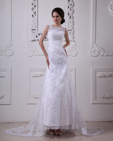 Satin Lace Round Neck Sweep Mermaid Bridal Gown Wedding Dress